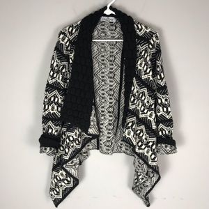 Kristine accessories textured Aztec cardigan black